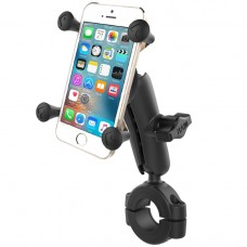 "Torque™ 1 1/8"" - 1 1/2"" Diameter Handlebar/Rail Base with 1"" Ball, Standard Arm and X-Grip® for Phones"